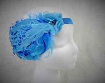 Feather Headband,  Baby Girl Feather Headband, Turquoise Feather Headband, Baby Headband, Little Girl Headband, Newborn Headband