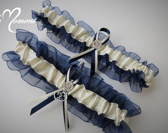 Navy Blue Organza with Aqua Satin Garter Set Prom Garter Wedding Garter Something Blue Garter Set Bridal Garter Keepsake /& Toss Garter