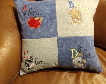 Embroidered Alphabet Pillow
