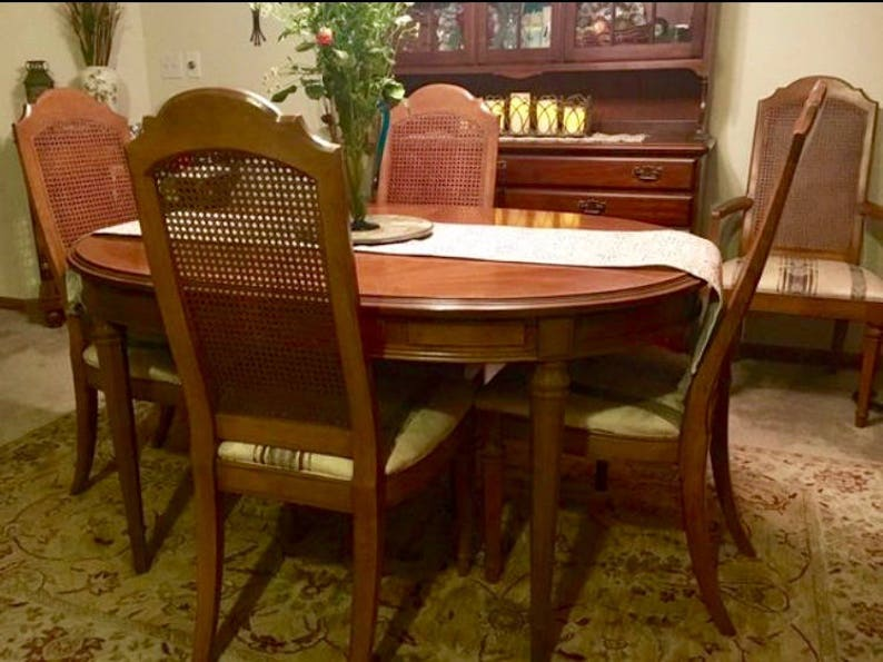 ESPERANTO Drexel Dining Room Set, 1960\'s, 6 chairs, 3 leaves, Pecan Wood  Inlay, original padded covers