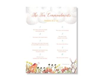 The Ten Commandments Watercolor Printable