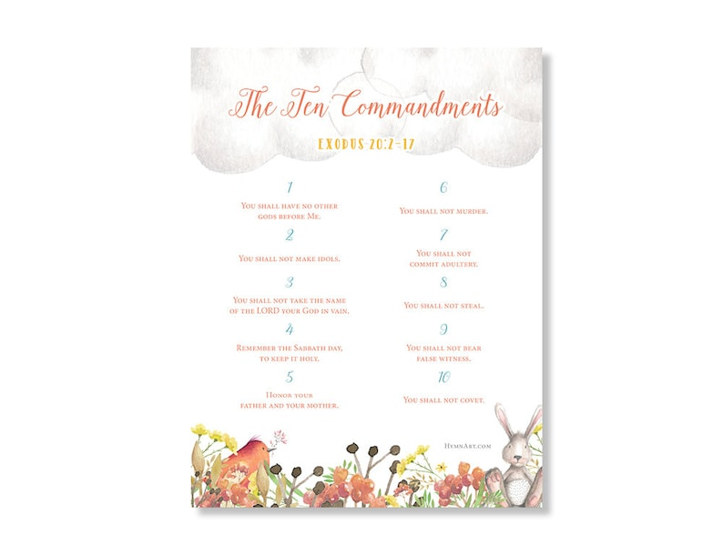 picture relating to Ten Commandments Printable identified as The 10 Commandments Watercolor Printable