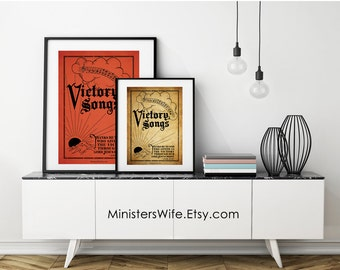Victory Songs Antique Hymnal Cover Reproduction Printable