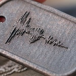 Custom Steel Dog Tag Sound Wave Necklace with EMBOSSED Wave Form | Personalized Jewelry #MadeFromSound