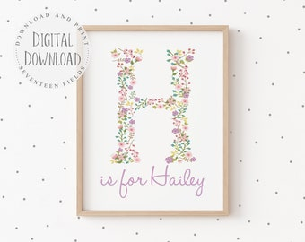 Printable Baby Name Art, Personalized Baby Girl Gift Ideas, Monogram Letter Print, Floral Nursery Decor Lavender, Little Girls Room Decor