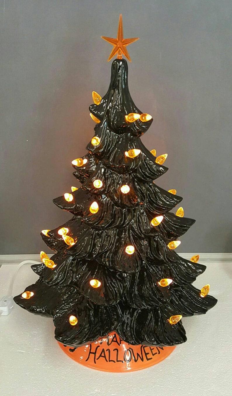 Halloween Tree Ceramic Tree Black Ceramic Tree 17 Inch Tree Black And Orange Ceramic Tree
