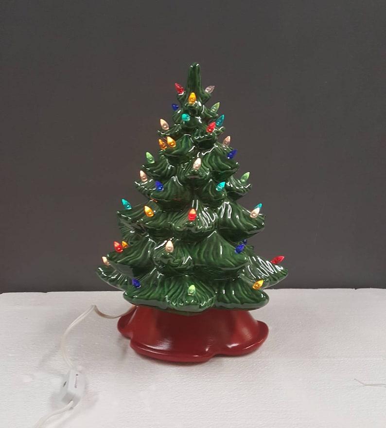 Ceramic Christmas Tree Medium Smooth Tree 12 Inches Red Base Grandmas Christmas Tree Ceramic Tree