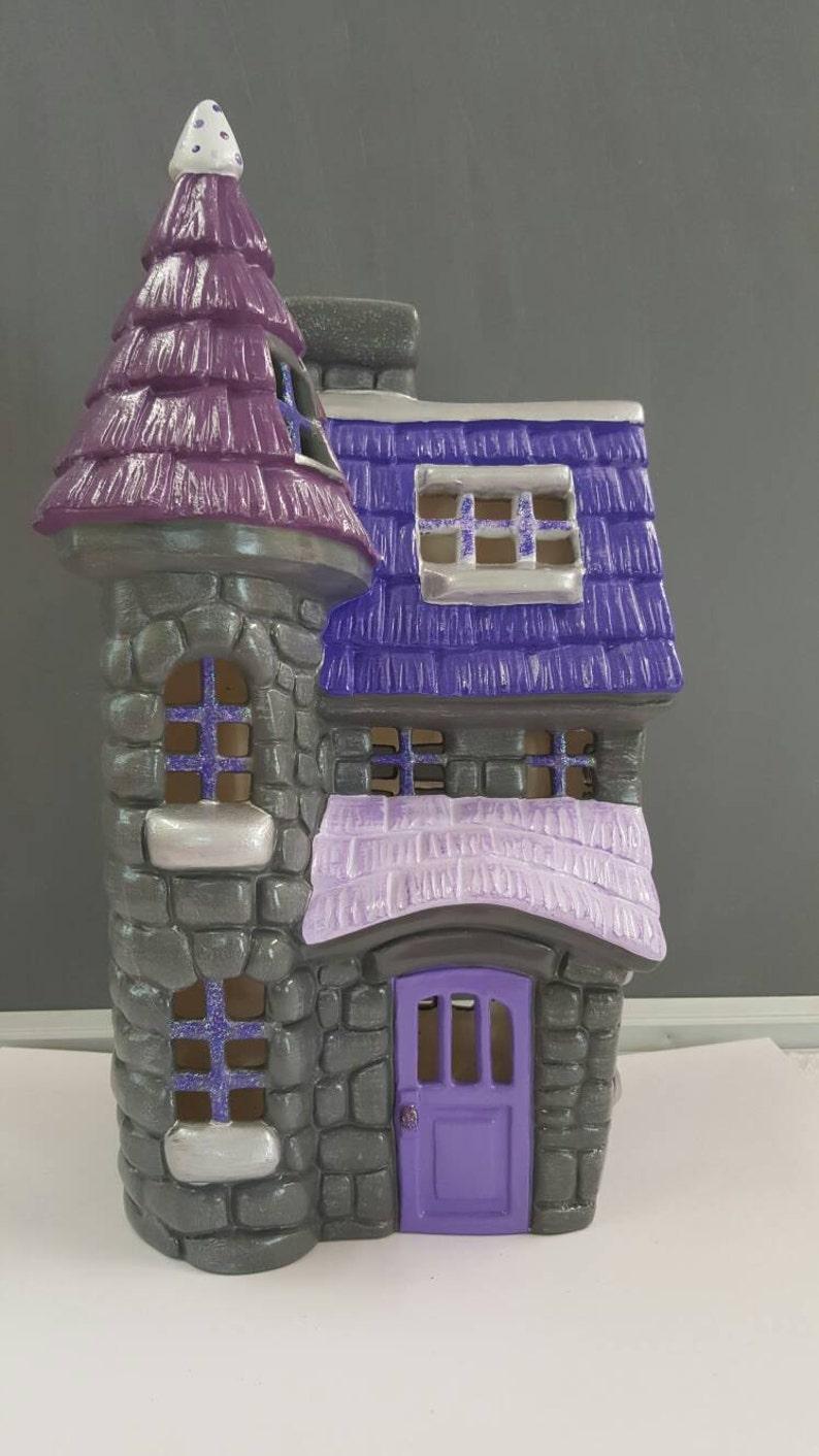 Ceramic Fairy House - Fairy Dwelling - Fairy Inn - Fairy Cottage - Plum  Fairy House - Ceramic House - Gnome Home - Purple - Violet