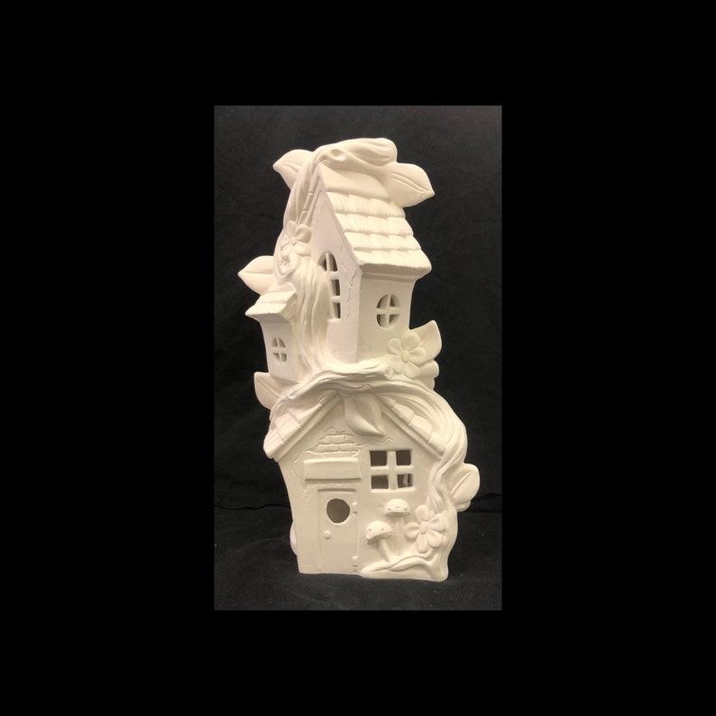 Ceramic Fairy House - Ready To Paint Fairy House - Mandevilla Tri Level  House - Fairy House - Fairy Garden - Gnome Home - Garden