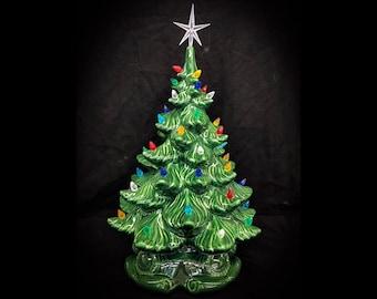 "Ceramic Christmas Tree -16"" - Ceramic Christmas Tree 16"" Tall - 18"" With Star - Ceramic Tree - Large Ceramic Christmas"