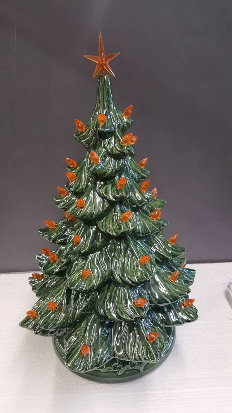 Ceramic Christmas Tree With Orange Lights 19 With Star Etsy