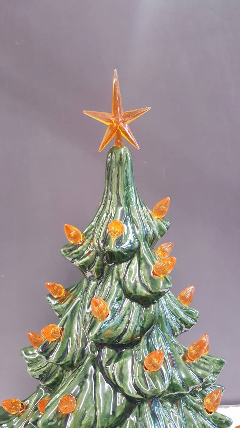Ceramic Christmas Tree With Orange Lights 19 With Star Ceramic Tree Ceramic Christmas Tree Vintage