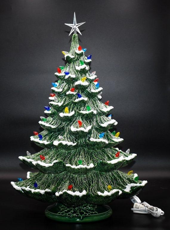 "Vintage /""Olde Tyme/"" Ceramic Christmas Tree Lights Bulbs 50 Twist w// Clear Star"