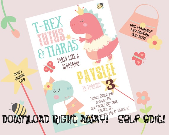 T Rex Tutus Tiaras Invitation Instant Download Corjl Girl Dinosaur Birthday Party