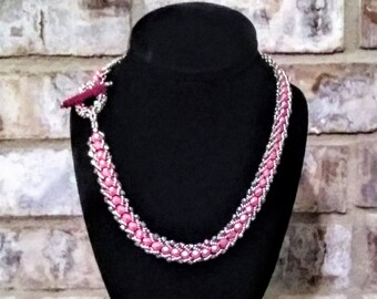 Hand Crafted Beaded Necklace with Toggle Clasp Closure- 19.5 Inches Long - Great for Valentine's Day!