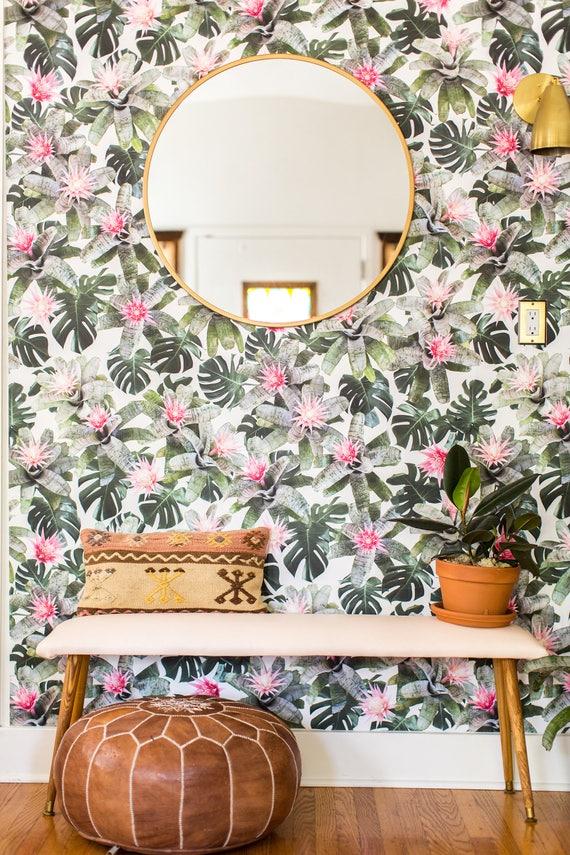 Rad Bromeliad Traditional Prepasted Wallpaper Wallpaper Etsy