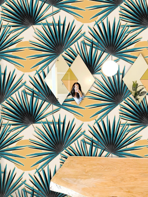 Palm Deco Traditional Prepasted Wallpaper Etsy