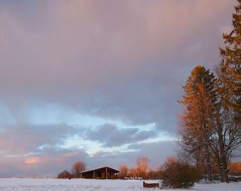 Setting Sun over Farm Sutton MA 8x10 11x14