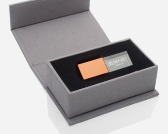 Linen USB Box with Personalization + Crystal Flash Drive | 8GB | 16GB | USB 3.0 - Slate