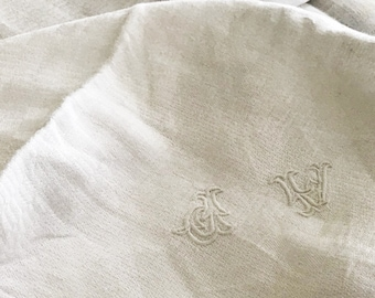 Hand Embroidered Red Cross Stitch Monogram Beautiful Large French Antique White Linen Damask Napkin Serviette AJ  AT