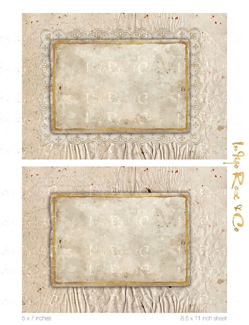 PAPERPACK #1 Grunge Old Paper Pages Gilt Framing Scrapbook Background Photo Mat Lace Craft Digital Download Printable Collage Decoupage