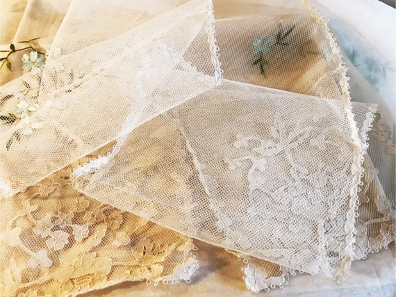 Handmade Antique Brussels Lace Lappet - Tulle - Ne