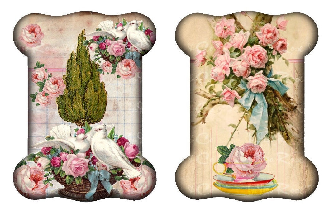 4 RIBBON LACE HOLDER Love Birds Bunny Ribbon Pink Roses Shabby Chic Vintage  Old Paper Floral Craft Sewing Thread Reel Spool Digital Download