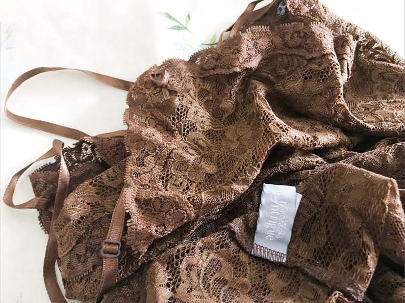 Vintage Stretch Lacy Brown Net Cotton Tunic  Dress  UnderDress PreLoved Layer