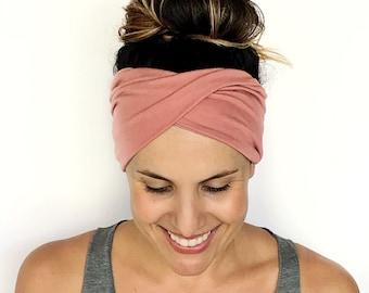 15b81a0add5d Blush Double Twist Headband - Turban Headband - Wide Headband - Yoga  Headband - Workout Headband