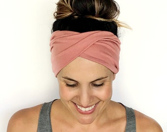 1fdc39b6140e Blush Double Twist Headband - Turban Headband - Wide Headband - Yoga  Headband - Workout Headband