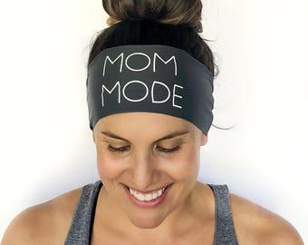 a0d1564cb535 Yoga Headband - Mom Mode - Running Headband - Fitness Headband - Fitness  Apparel - Workout Headband