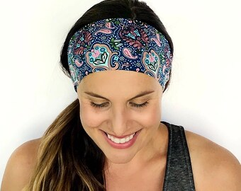 Yoga Headband - Workout Headband - Fitness Headband - Running Headband - Divinity Print - Boho Wide Headband