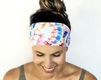 Yoga Headband - Workout Headband - Fitness Headband - Good Mood Print - Running Headband - Boho Wide Headband