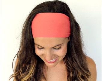 Yoga Headband - Workout Headband - Fitness Headband - Running Headband - Coral Burst Print - Boho Wide Headband