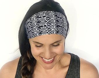 Yoga Headband - Workout Headband - Fitness Headband - Running Headband - Auckland Print - Boho Wide Headband