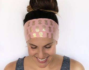 Yoga Headband - Workout Headband - Fitness Headband - Running Headband - Blingin Pineapple Print - Boho Wide Headband