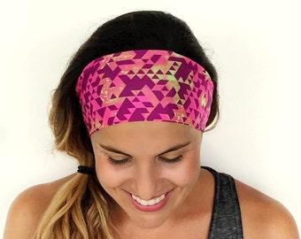 Yoga Headband - Running Headband - Workout Headband - Fitness Headband - Get Movin' Print - Boho Wide Headband