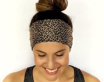 Yoga Headband - Workout Headband - Fitness Headband - Running Headband - Wild Cat Print - Boho Wide Headband