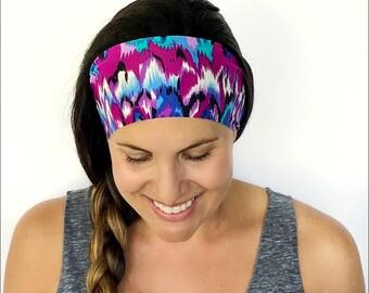 Yoga Headband - Workout Headband - Fitness Headband - Running Headband - Via Lido Print - Boho Wide Headband