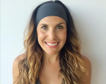 Yoga Headband - Workout Headband - Fitness Headband - Dolphin Grey - Boho Wide Headband
