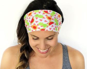 Yoga Headband - Workout Headband - Fitness Headband - Running Headband - Tropical Smoothie Print - Boho Wide Headband