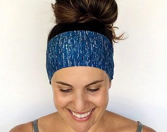 Yoga Headband - Workout Headband - Fitness Headband - Running Headband - Trekking Print - Boho Wide Headband