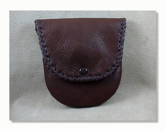 Larger Hand Stitched Case, Leather Lined, Snap Closure, Size 4-1/4 x 4-1/4-inches Color: Brown