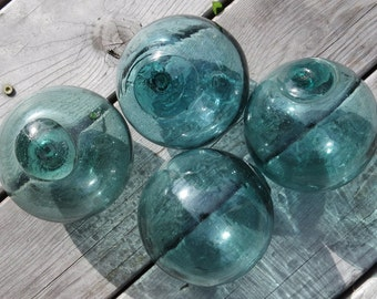 "Japanese Glass Fishing Floats 4-4.5/"" Lot-5 Sea Green RARE HUE Authentic Vntg!"