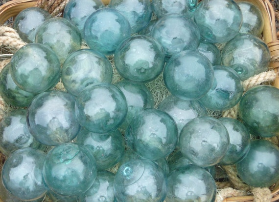 "Japanese Glass Fishing Floats 3-3.5/"" Lot-9  *Antique Nets* Maritime Relics Vntg"