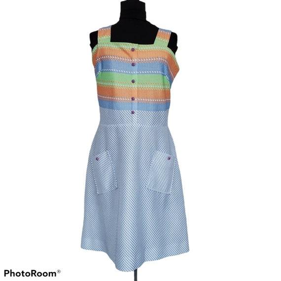Vintage 70s Handmade Rainbow Stripe Tank Day Dress