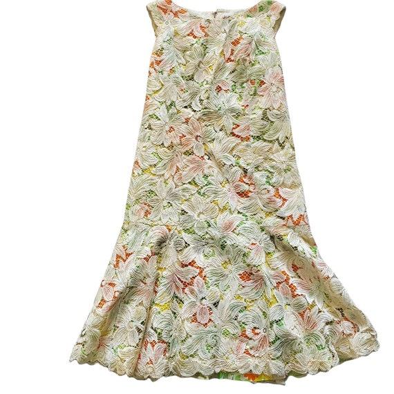 Vintage 60s Travilla Lace Over Mod Floral Print G… - image 4