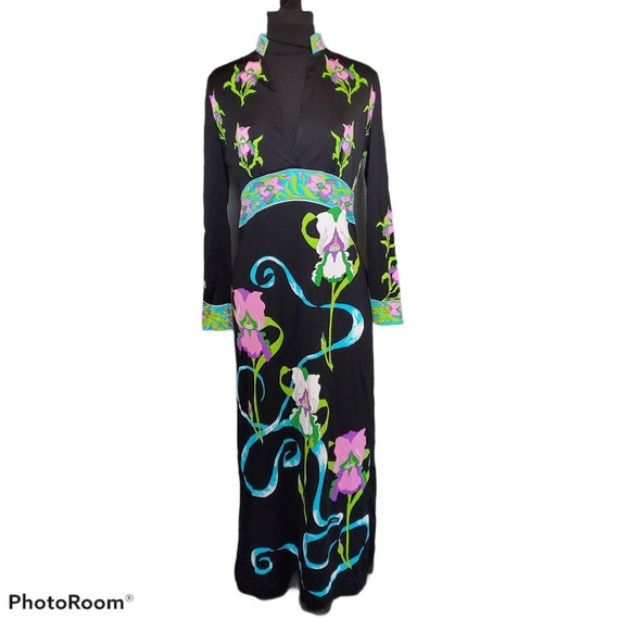 1960s 60s Floral Kaftan MOD Flower MAXI House Dress  Psychedelic JEZEBEL California Vintage