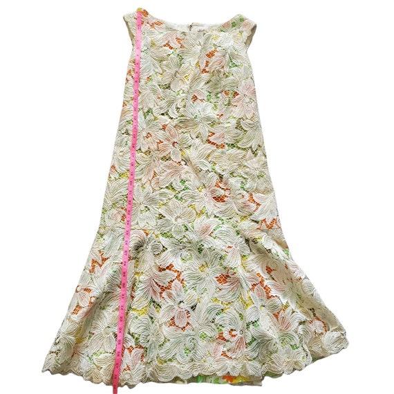 Vintage 60s Travilla Lace Over Mod Floral Print G… - image 7