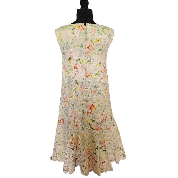 Vintage 60s Travilla Lace Over Mod Floral Print G… - image 1